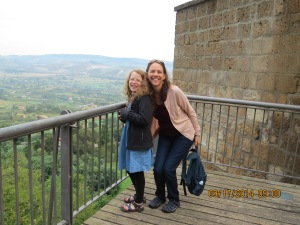 Mom & Sadie looking down from Orvieto