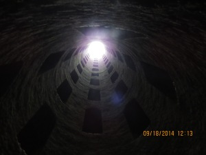 looking up the well