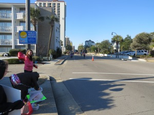 We went down to the Boulevard to cheer on the marathon runners on Valentine's Day.