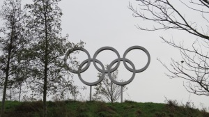 Olympic symbol, other side has colour
